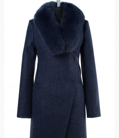 Молодежное зимнее пальто с натуральным мехом песец