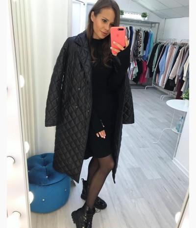 Cтёганное чёрное пальто