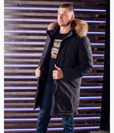 Мужская зимняя куртка с натуральным мехом из енота