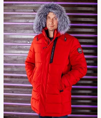 Мужская куртка с натуральным мехом из чернобурки