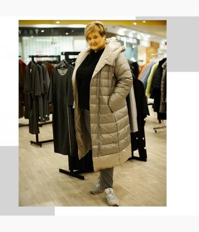 Тёплое стёганое пальто-пуховик