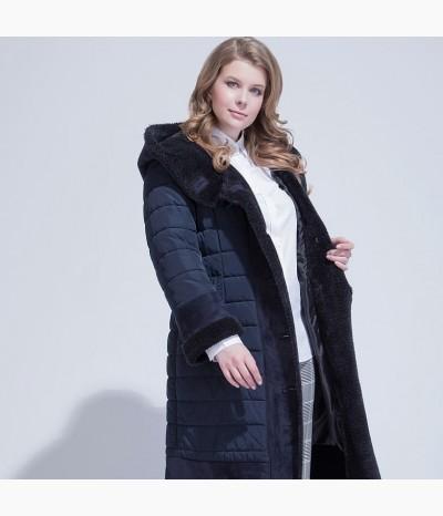 Оригинальное пальто - дубленка